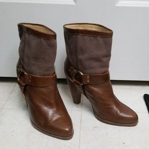 JEFFREY CAMPBELL brown ankle boots western styling
